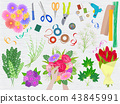 Floristics vector florists hands making beautiful floral bouquet and arranging flowers in flowershop 43845991