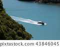 Top view of speed boat running around the island 43846045