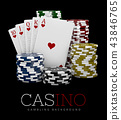 Casino Chips and Poker Card, Casino concept, 3d Illustration of Casino Games Elements 43846765