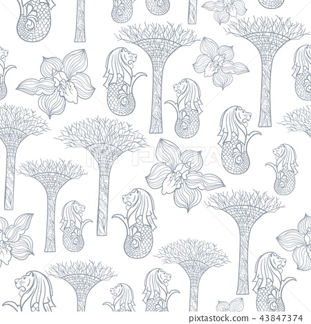 Asia Travel Singapore Outline Sketch Vector Pattern 43847374