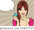 woman pop art style with credit card showing hand 43847757