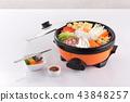 Sukiyaki pot with vegetable and pork isolated 43848257