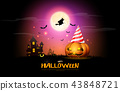 happy halloween pumpkins party night celebration 43848721