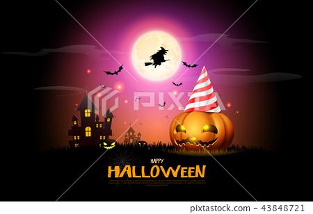 happy halloween pumpkins party night celebration 43848721