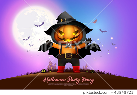 halloween night full moon party fancy vector 43848723