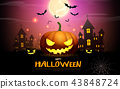 happy halloween pumpkins party night celebration 43848724