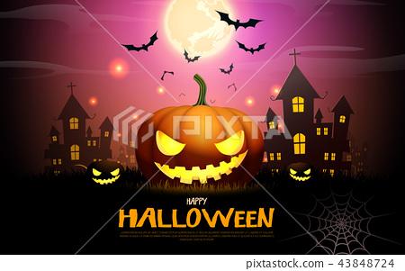 happy halloween pumpkins party night celebration 43848724