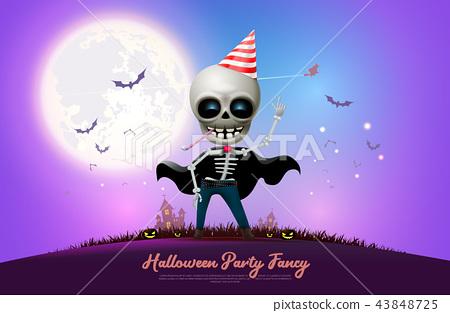 halloween night full moon party fancy vector 43848725