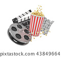 3d rendering of a video reel, popcorn bucket and a clapperboard on a white background. 43849664