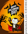 Halloween day horror character dracula and pumpkin 43849863