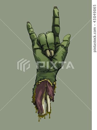 Halloween zombie hand sign love Artwork background 43849865