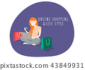 Woman life style character shopping online. 43849931
