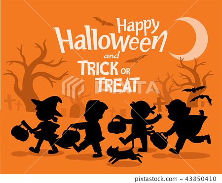 Children in Halloween dress go Trick or Treating. 43850410