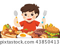 A Boy with spoon and fork going to eat Foods. 43850413