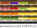 Fresh fruits display on shelf in supermarket 43850512