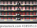 Fresh meat display on shelf in supermarket 43850513