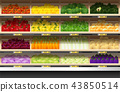 Fresh vegetables display on shelf in supermarket 43850514