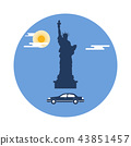 Statue of Liberty, sun, clouds and car American 43851457
