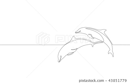 Single continuous line art marine dolphin swim jump silhouette. Nature ocean ecology life 43851779