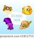 Funny poster with image of marine fishes with cute purple cuttlefish and the words best friends 43852755