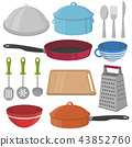 Vector Kitchenware and cooking equipment icon set 43852760