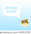 Funny poster with marine Fugu Fish or Puffer Fish and the words everything will be all right. Sample 43852785
