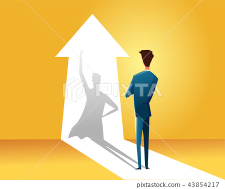 Businessman with superhero shadow vector concept. Business symbol of ambition, success, motivation 43854217