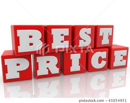 Best price concept on red toy cubes 43854951