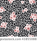 Modern black and white leopard seamless pattern with pink flowers. Animal skin and floral design 43855088