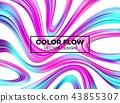 Modern colorful flow poster. Wave Liquid shape in blue color background. Art design for your design 43855307
