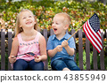 Sister and Brother Waving American Flags On Bench 43855949