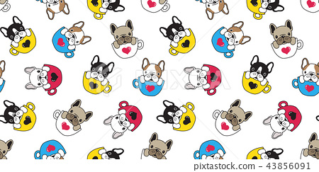 Dog seamless pattern vector french bulldog cartoon 43856091