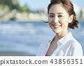 여성, 여자, 해변 43856351