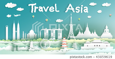 Landmarks of the world on green background. 43859619