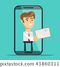 Man from smartphone screen giving new message. Post service concept. Vector illustration flat design 43860311
