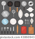 Kitchen utensil vector kitchenware or cookware for cooking food set of pan cutlery and plate 43860943