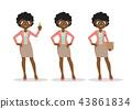 Young cartoon African businesswomen Set. 43861834