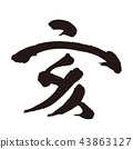 sign of the hog, twelfth sign of the chinese zodiac, calligraphy writing 43863127