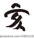 sign of the hog, twelfth sign of the chinese zodiac, calligraphy writing 43863128