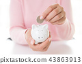 Woman hand putting coin into piggy bank 43863913