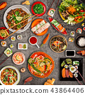 Various of asian meals on rustic background , top view. 43864406