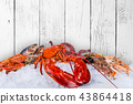 Fresh tasty seafood served on old wooden table. 43864418