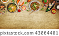 Various of asian meals on rustic background , top view , place for text. 43864481