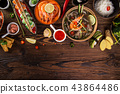 Various of asian meals on rustic background , top view , place for text. 43864486