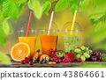 Fresh juice mix fruit, healthy drinks on wooden table. 43864661