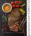 Delicious beef rump steak on wooden table 43864732