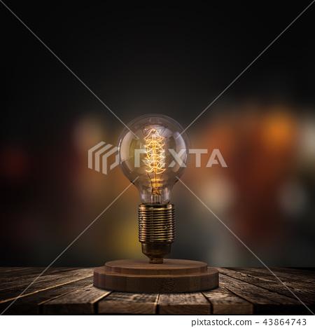 Vintage light bulb on dark background. 43864743