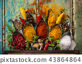 Various colorful spices on wooden table 43864864