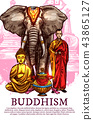 Buddha, monk, vase and elephant 43865127