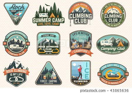 Set of Rock Climbing club and summer camp badges  Vector  - Stock